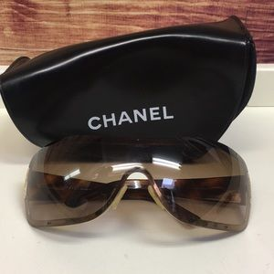 Chanel Brown Shield Sunglasses with Case